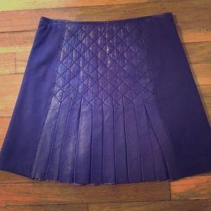 Catherine Malandrino purple pleated leather skirt